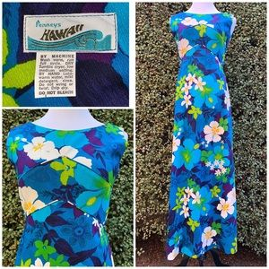 """Penny's"" Vintage Hawaiian Barkcloth Maxi-Dress"